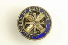 ANTIQUE FELLOWSHIP OF ST JOHN Sterling Silver PIN / BUTTON ENAMEL -  GR S6432
