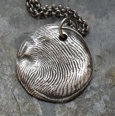 Items similar to Fingerprint Custom Fine and Sterling Silver Necklace - 1 print charm MADE TO ORDER on Etsy
