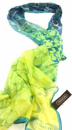 Green Teal Blue Colorful Coach Scarf LOVE!