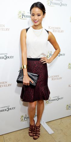 Click to shop Jamie Chung's outfit (psst: that adorable Ann Taylor skirt is $89!)