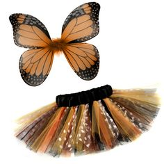 Orange Monarch Butterfly 2 Piece Tutu & Wings Costume Set - My Baby Rocks www.punkbabycloth... www.mybabyrocks.com #mybabyrocks #punkbabyclothes #baby