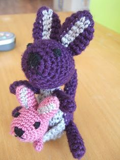 Crochet Kangaroo and baby.