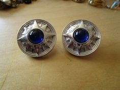 """New Listing Started silvertone round large studs with blue cabouchon stones 1.5""""across as new £1.75"""