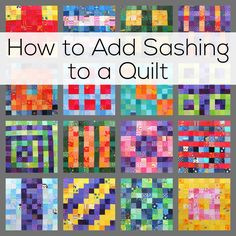 How to add sashing strips to any quilt - and easy tutorial from Shiny Happy World using a gorgeous scrap quilt as an example.