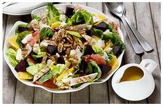Hulett's recipe for Seasonal Salad with Chargrilled Chicken and a Citrus Sesame Dressing. Chargrilled Chicken, Pecan Nuts, Pan Set, Salad Ingredients, Beetroot, Kitchen Recipes, Beets, Lettuce, Cobb Salad