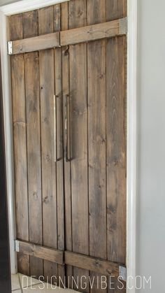 double pantry barn door diy under 90 closet diy doors kitchen design woodworking projects - April 20 2019 at Barn Door Pantry, Door Design, Kitchen Pantry Doors, Wood Doors, Kitchen Pantry, Doors Interior, Diy Door, Door Hardware, Farmhouse Kitchen