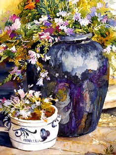 Rose Edin's Watercolor Demo of Dramatic Flowers and Pottery