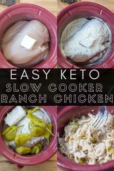 Slow Cooker Ranch Chicken (Keto+Gluten Free) - Maebells This easy Keto Slow Cooker Ranch Chicken is the perfect set it and forget it meal! It is great for tacos, salads and keto meal prep! Diet Dinner Recipes, Keto Crockpot Recipes, Keto Dinner, Slow Cooker Recipes, Low Carb Recipes, Dessert Recipes, Ranch Chicken, Keto Chicken, Easy Chicken Recipes