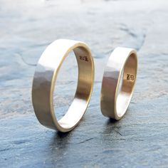 Hammered Gold Wedding Band Set in Recycled Yellow or Rose Gold - Matching Wide, Flat and Rings - Choose Polished or Matte Finish Wedding Jewelry Sets, Wedding Bands, Gold Wedding, Matching Wedding Band Sets, Or Rose, Rose Gold, Jewelry Stores Near Me, Hammered Gold, Small Rings