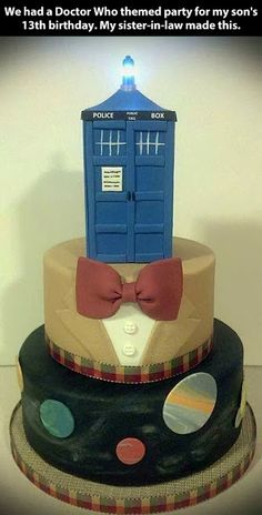 Doctor Who Birthday Cake thinking of Kenndralilli and Jayden this is a lovely Idea for them both!