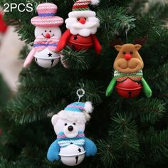 [$1.33] 2 PCS Christmas Tree Doll Bell Christmas Pendants Decorations, Random Style Delivery, Size: 11*7cm