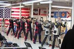 Junior air rifle shooters at Ole Mill Range in Griffin, Georgia Shooting Sports, Air Rifle, Guns And Ammo, Rifles, Firearms, Ranger, Competition, Georgia, Bb