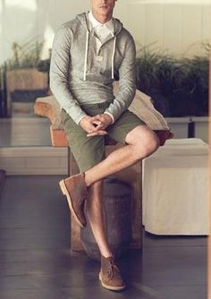 Men's Olive Shorts, Brown Leather Desert Boots, Grey Hoodie, and White Dress Shirt Desert Boots, Mens Fashion Shoes, Mens Fashion Blog, Men's Fashion, Trendy Fashion, Fashion News, Sharp Dressed Man, Well Dressed Men, Grey Hoodie