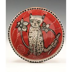 Kitty Bowl  Red Ceramic Painted Pinch Bowl  Jenny by jennymendes