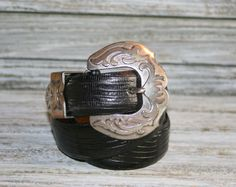 90s Womens Black Leather Belt Kenneth Cole by MagpieandOtis