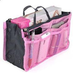 UZZO Fashion High Quality Women Ladies Travel Insert Handbag Organiser Portable Expandable Tidy Bag Double Zipper Nylon Makeup Cases(pink). View website for more description.