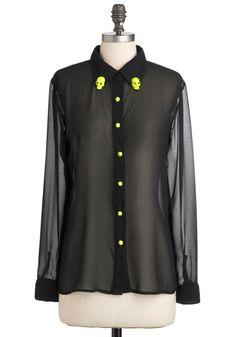 Crânio Set Top - preto, amarelo, Studs, manga comprida, Sheer, de comprimento médio, Festa Declaração,