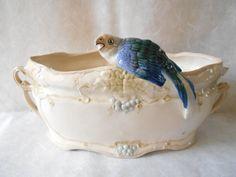 French Art Nouveau Jardinière Majolica Bird by Birdycoconut