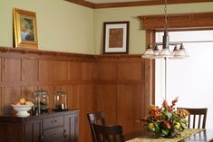 Classic Craftsman Paneling System Inspired by designs of Frank Lloyd Wright, this Solid Wood and/or Plywood and Veneer Paneling System provides clean lines along with the warmth of a casual living space. Craftsman Style Decor, Craftsman Style Interiors, Craftsman Trim, Craftsman Interior, Wood Interiors, Wood Interior Walls, Interior Columns, Interior Trim, Dining Room Paneling
