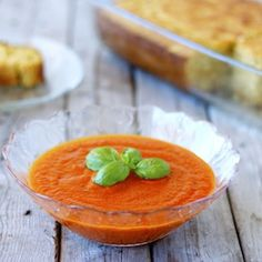 Roasted red pepper & tomato soup. Vegan and delicious to the last drop.