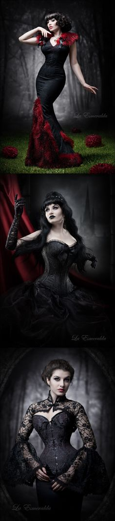 Gothic / Victorian photo shoots --- That dress in the top photo is just soooo gorgeous
