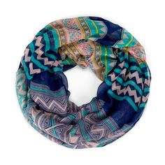 """Need some colored scarves. Loving this one. Sole Society """"Printed Infinity Tribal Scarf"""", $24.95"""