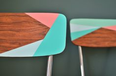 Painted chairs, by Mamie Boude  --  these would look great in my dining rm!