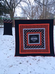 Harley Davidson quilt and pillow case I made for my son-in-law Jeremy.