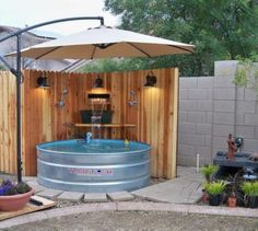 Outdoor shower/tub.  Love this!!