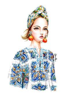 Dolce & Gabbana S/S 2016 by Olivia Au Illustration.Files: S/S 2016 Fashion Illustrations by Olivia Au