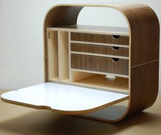 Camille Wall Desk wall mounted laptop cabinet by vurvdesign  -  designer: Glenn Ross