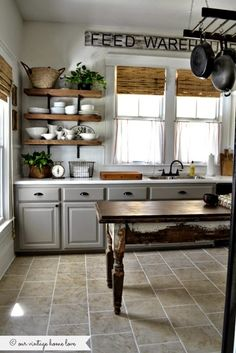 Farmhouse Kitchen. See the rest of the house tour! Our Vintage Home Love