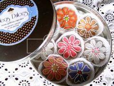 Caja de Regalo Con galletas decoradas en Flores