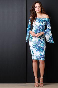 Off The Shoulder Floral Print Bell Longsleeve Dress