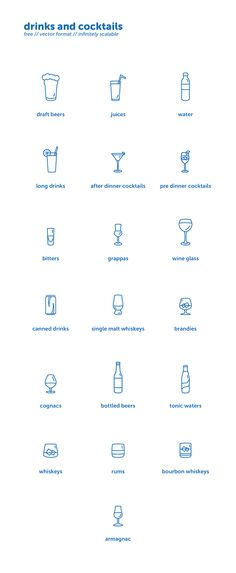 Drinks and cocktails icons set