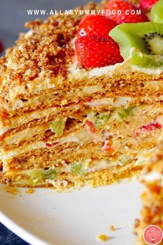 This delicious fluffy honey cake will blow your mind. Words don't do this cake justice, and you have to make this. This honey cake is perfect at any time of year since holidays are approaching close, I suggest you make this for Christmas and holiday season. This honey cake is made with kiwi, strawberries, and bananas, and was my favorite childhood cake. The layers are fluffy and tender and the frosting is to die for. Join our amazing membership for more recipes!
