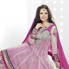 Off White Net Anarkali Churidar Kameez