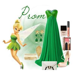 """Prom Disney Edition: Tinker Bell"" by tornadoegi ❤ liked on Polyvore featuring Fathead, Urban Decay, Christian Louboutin, GUESS, Butter London, Bobbi Brown Cosmetics, CK One, Monica Vinader, Nugaard Designs and Yves Saint Laurent"