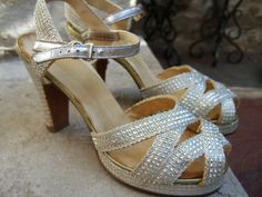 1940s  Amazing Silver Metallic Platform by worldmarketproductio, $95.00