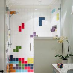 Fun bathroom design by #Brownhousedesign. Our Kiln American made ceramic tile…