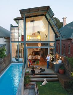 A small house with a lap pool