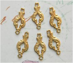 Raw Brass Victorian Ornate Connector by DecadentBrassGlass on Etsy
