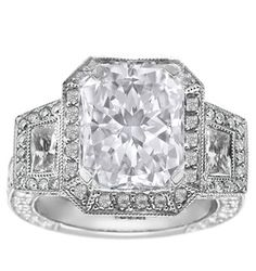 Radiant Diamond Engagement Ring Trapezoids side stone Halo pave 1.66 tcw. In 14K White Gold
