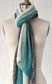 Knitting pattern for Gradient Scarf using three colors of yarn to create a…