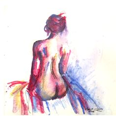 Morning, (nude) watercolour & ink, 135 x 135
