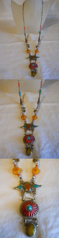 Unsigned Artisan Jewelry 166733: Long Southwest Necklace Turquoise,Coral And Amber -> BUY IT NOW ONLY: $35 on eBay!