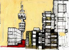 An artists perception of Jozi Johannesburg Africa, Africa Craft, Big Blank Wall, Chalk Art, Perception, Big Ben, South Africa, Street Art, Trust
