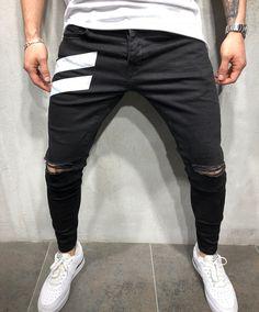 Chain Men Style Men's Ankle Pants Streetwear Plaids Street Jeans, Men Street, Plaid Shorts, Denim Pants, Moto Jeans, Patched Denim, Mode Man, Pantalon Slim, Men's Clothing