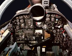 """The original U-2 spyplane cockpit, which used traditional dials and a large """"driftsight"""" telescope to help the pilot see the landscape below. Photo: U.S. Air Force, Lockheed Martin Aeronautics Co."""
