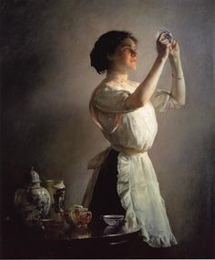 The Blue Cup, 1909 by Joseph DeCamp - oil on canvas. This painting is located at the Museum of Fine Arts in Boston, Massachusetts.